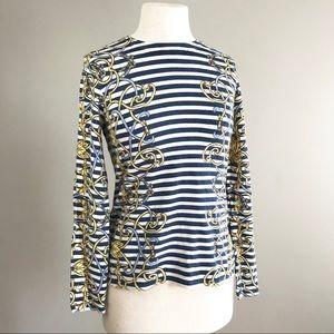 J. McLaughlin equestrian stripe belt blue sweater